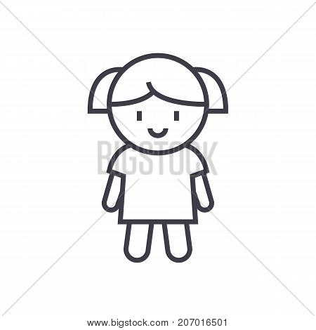 girl doll vector line icon, sign, illustration on white background, editable strokes