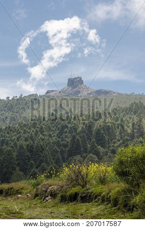 Landscape with the mountain called Cofre de Perote. Perote, Veracruz, Mexico