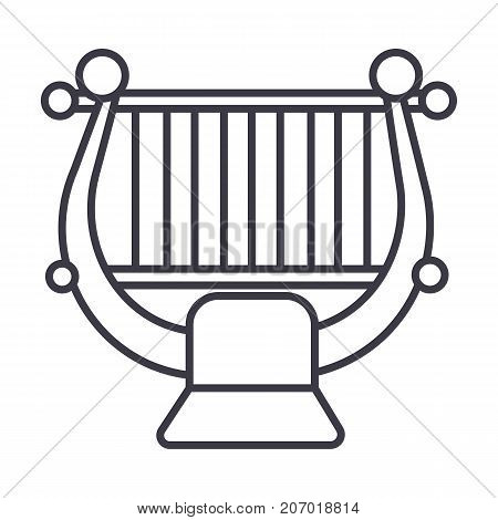 harp, string, classical music  vector line icon, sign, illustration on white background, editable strokes