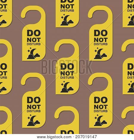 Please do not disturb hotel design. Motel service room privacy seamless pattern.