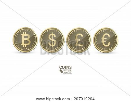 A set of icons of coins on the isolated white background.Bank notes dollar, Bank notes euro, pound sterling. Symbols of currencies in 3d style. Vector eos 10 illustration.