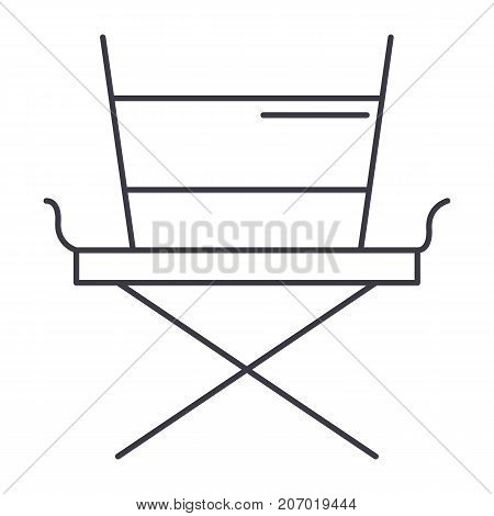 movie director chair vector line icon, sign, illustration on white background, editable strokes
