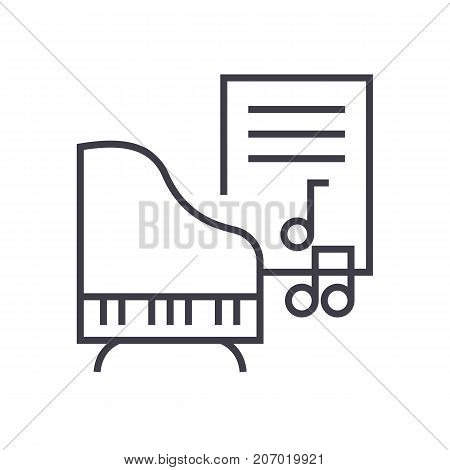 music, piano, music notes vector line icon, sign, illustration on white background, editable strokes