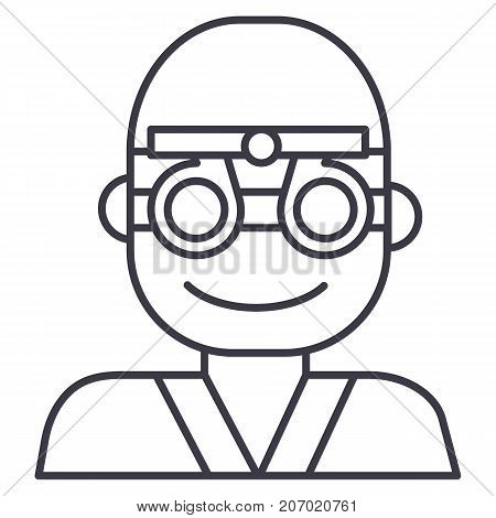 oculist, ophthalmologist, eye doctor vector line icon, sign, illustration on white background, editable strokes