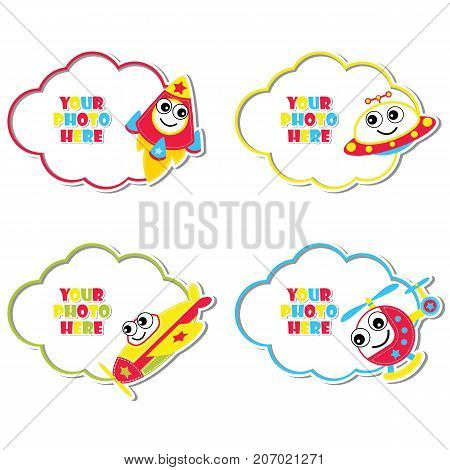 Cute plane, helicopter, ufo, and rocket on colorful frame vector cartoon illustration for kid photo frame design, label tag and sticker set design