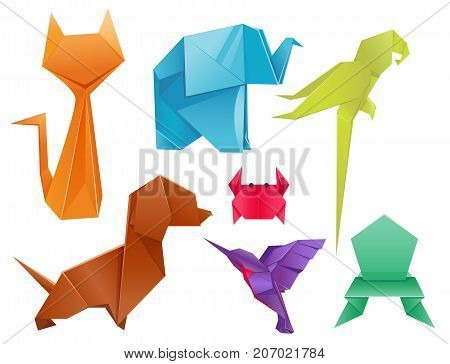 Animals origami set japanese folded modern wildlife hobby abstract symbol creative decoration vector illustration. Geometric nature traditional japan polygon asian toy.