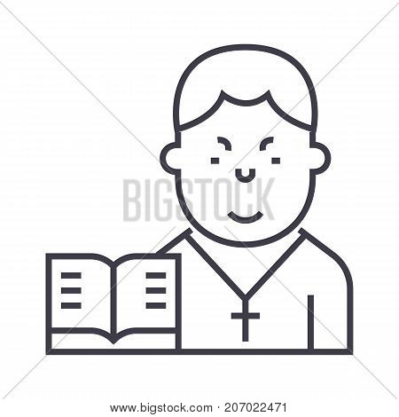pastor vector line icon, sign, illustration on white background, editable strokes