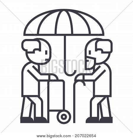 pensions, protection, long term care vector line icon, sign, illustration on white background, editable strokes