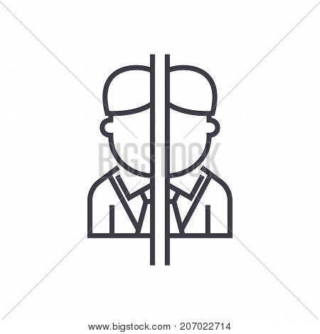 personal disorder, game vector line icon, sign, illustration on white background, editable strokes