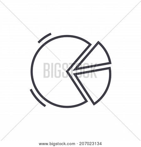pie graph  vector line icon, sign, illustration on white background, editable strokes