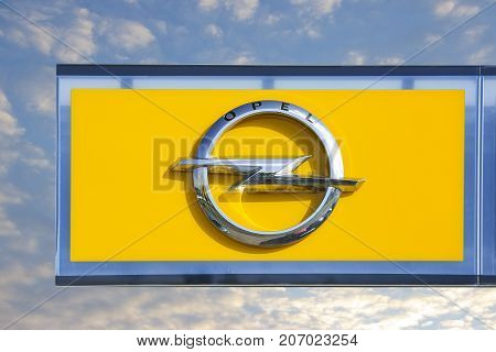 WETZLAR GERMANY JULY 2017: OPEL Logo on a showroom facade.OPEl AG is a German automobile manufacturer based in Rüsselsheim am Main Germay.