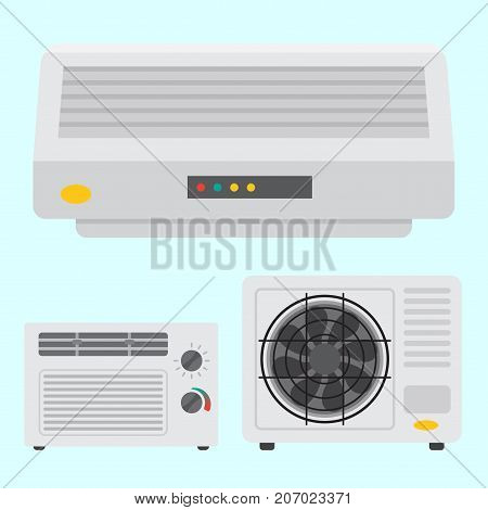 Air conditioner airlock systems equipment ventilator conditioning climate fan technology temperature cool home control vector illustration. Blow acclimatization purifier blowing ventilation appliance.