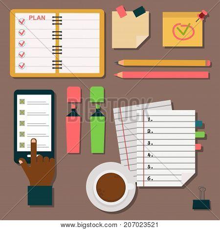 Vector notebook agenda business note meeting plan work reminder schedule calendar planner organizer appointment illustration. Memo book to do document.