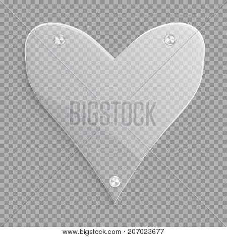 A large glossy translucent heart for wedding decoration. Vector illustration with a romantic icon.