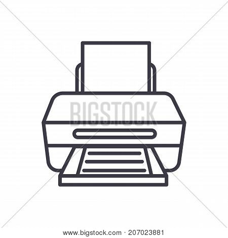 printer with paper vector line icon, sign, illustration on white background, editable strokes