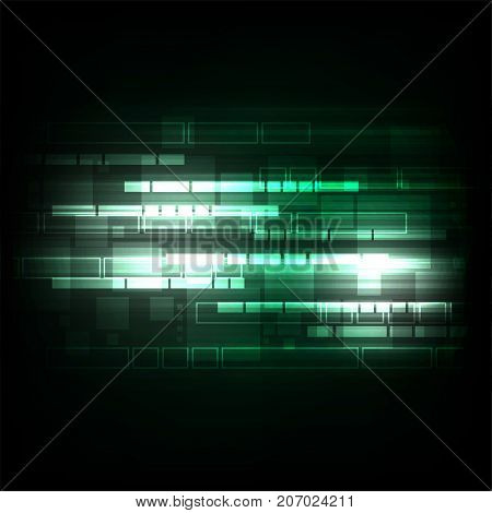 Geometry in technology concept on a dark green background.