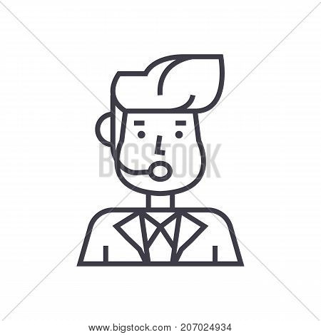 reporter man, news broadcasting vector line icon, sign, illustration on white background, editable strokes