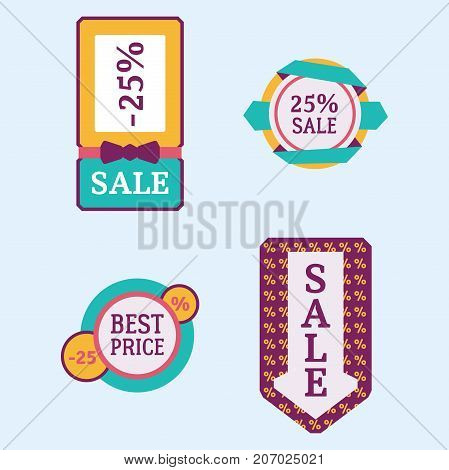 Super sale extra bonus banners text in color drawn labels business concept vector. Internet promotion shopping advertising discount promotional marketing.