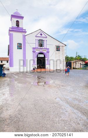Portobelo Panama August 2016: The restoration work of the church of San Felipe continues in August. Tourists visit it for its well-preserved colonial aspect that has made it a national monument.