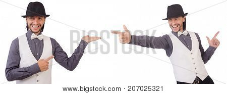 Young man in gray shirt and black hat isolated on white