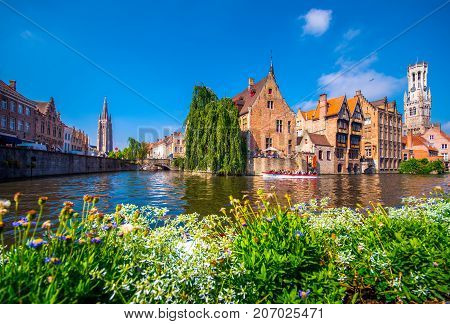 Brugge with the Perez de Malvenda house and Belfort van Brugge in the background in day light