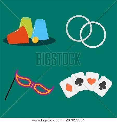 Magician tools poker cards art style gambler playful symbol traditional playing graphic drawing vector illustration. Hipster classic decorative print winner joker hazard.