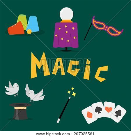 Magician tools art style gambler playful symbol traditional playing graphic drawing vector illustration. Hipster classic decorative print winner joker hazard.
