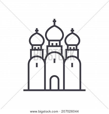 russian orthodox church vector line icon, sign, illustration on white background, editable strokes