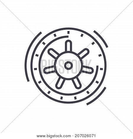 safe bank vector line icon, sign, illustration on white background, editable strokes