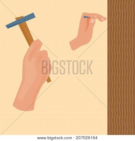 Hands with construction tools worker equipment. House renovation handyman vector illustration. Carpenter industrial build job wrench repair working body part.