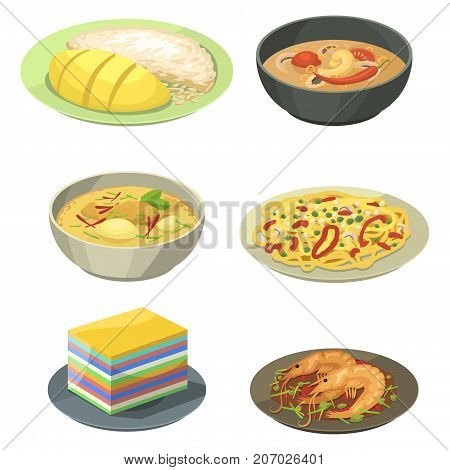National traditional thai food thailand asian plate cuisine seafood prawn cooking delicious and hot ingredient dinner spicy bowl gourmet vector illustration. Healthy restaurant soup sauce.