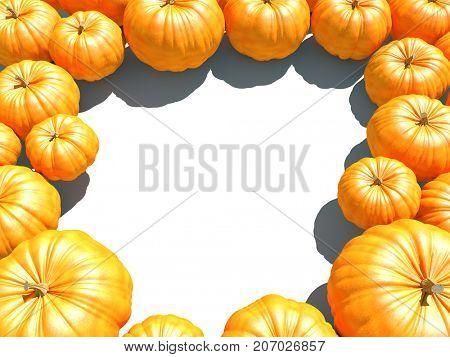 Orange panpkin frame autumn background with white copy space. 3D illustration.