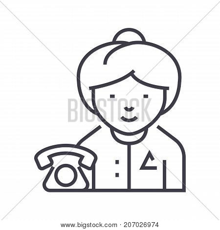 secretary vector line icon, sign, illustration on white background, editable strokes