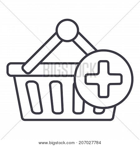 shopping cart plus vector line icon, sign, illustration on white background, editable strokes