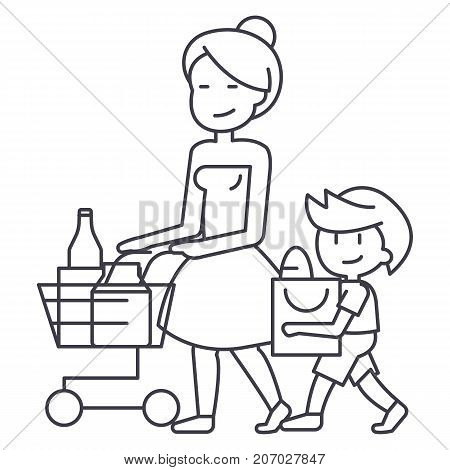 shopping grocery, mother with son and shopping cart vector line icon, sign, illustration on white background, editable strokes
