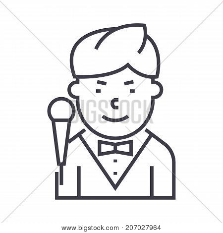 showman vector line icon, sign, illustration on white background, editable strokes