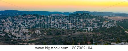Jerusalem Mountains At The Sunset Blue Hour
