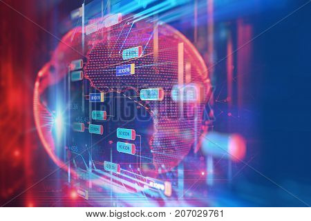 Big Data Futuristic Visualization Abstract Illustration