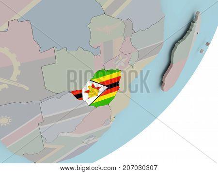Zimbabwe On Globe With Flags