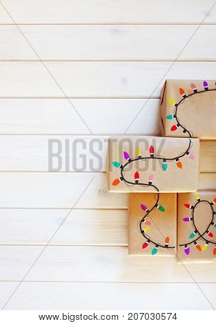 Gift Boxes With Festive Garlands.