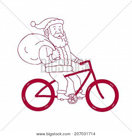 Cartoon drawing sketch style illustration of Santa Claus riding a bike bicycle holding bag of presents gifts on shoulder viewed from side on isolated background.