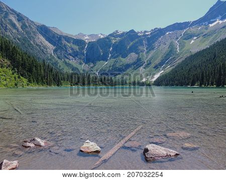 Scenic view of Avalanche Lake and glaciers in Glacier National Park Montana USA