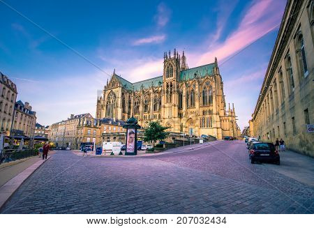 The Cathedral of Saint Stephen of Metz, France, (Cathédrale Saint Étienne). It is the historic cathedral of the Roman Catholic Diocese of Metz and the seat of the Bishop of Metz on July 08, 2017.