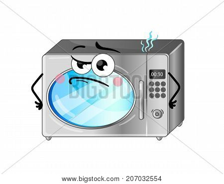 Funny microwave oven isolated cartoon character. Household appliance with emotional face, home electronic device comic mascot vector illustration.