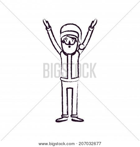 santa claus caricature full body with hands up hat and costume blurred silhouette on white background vector illustration