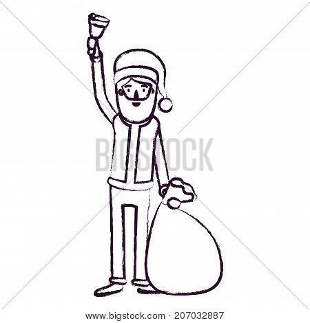santa claus caricature full body holding a hand bell and gift bag with hat and costume blurred silhouette on white background vector illustration
