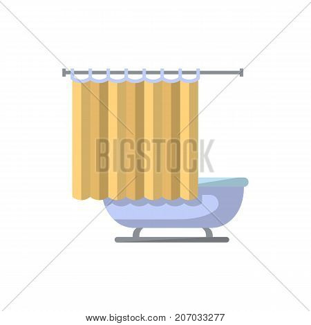 Bathtub with shower curtain isolated icon in flat style. Bathroom furniture element, house interior decoration vector illustration.