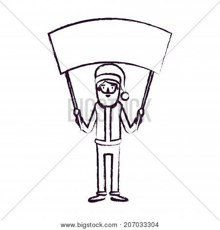 santa claus caricature full body holding a empty poster advertising with hat and costume blurred silhouette on white background vector illustration
