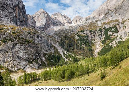 granite peaks above Val Ombretta in Dolomites, Italy