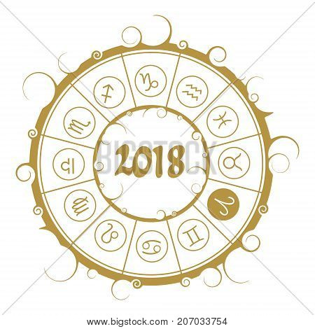 Astrological symbols in the circle. Aries sign. New Year and Christmas celebration card template. Zodiac circle with 2018 new year number.
